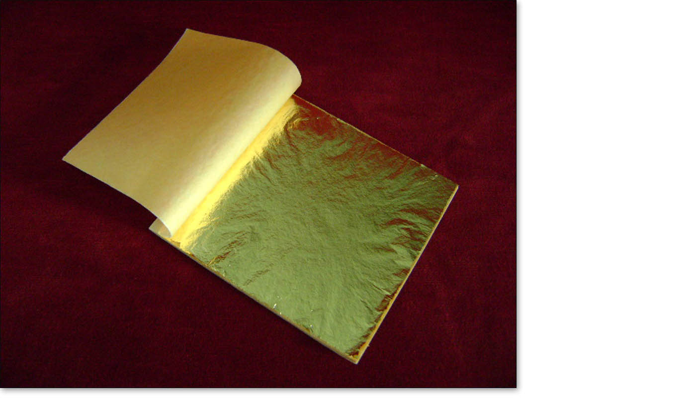 Imitation gold leaf in books